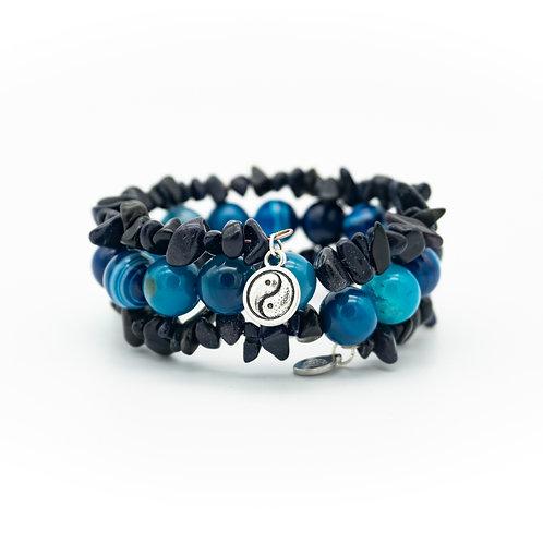 Blue Agate & Goldstone Wrap Stack Bracelet