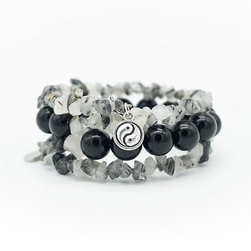 Onyx & Tourmalinated Quartz Wrap Stack Bracelet