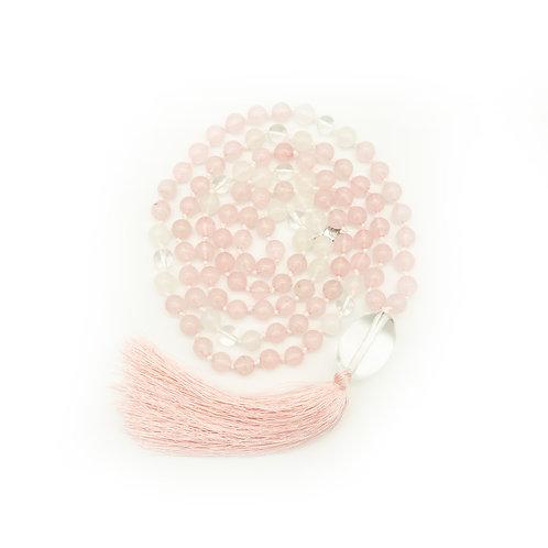 Rose Quartz, Jade Quartz 108 Bead Mala