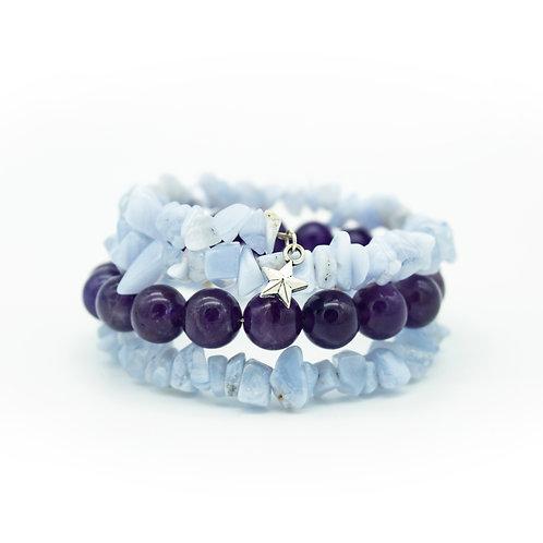Amethyst & Blue Lace Agate Wrap Stack Bracelet