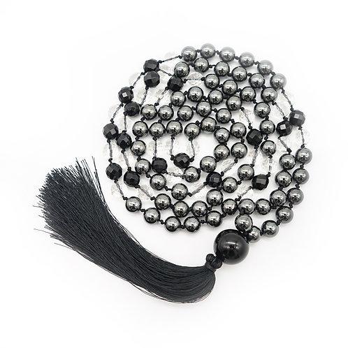 Onyx, Hematite & Quartz 108 Bead Mala