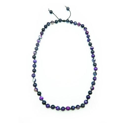 Purple Agate Half-Mala Necklace