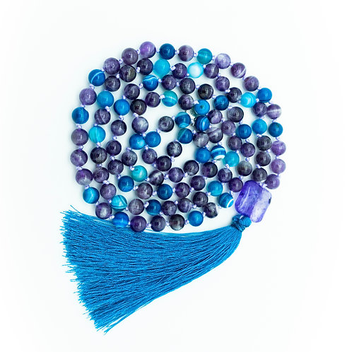 Amethyst & Ocean Blue Agate 108 Bead Mala