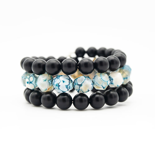 Blue Agate & Onyx Wrap Stack Bracelet