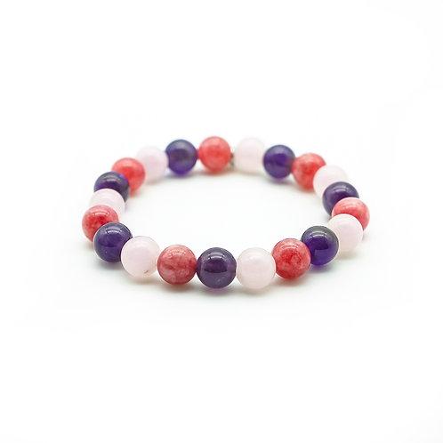 Amethyst, Rose Quartz & Jade Bracelet
