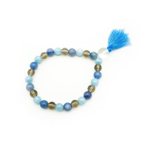 Smoky Quartz, Blue Aventurine & Jade Wrist Mala