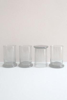4 verres à limonade en verre gris