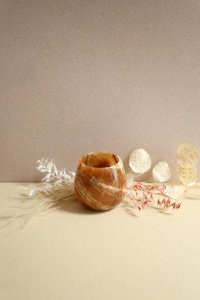 Bougeoir en marbre caramel