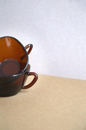 2 tasses en verre vermeil