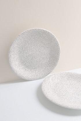 Paire d'assiettes plates mouchetées