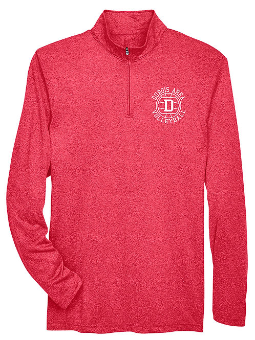 100% Polyester Red Heather 1/4 Zip