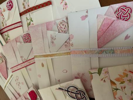 【折形礼法:略式紙幣包の応用】春の桜柄で作りました