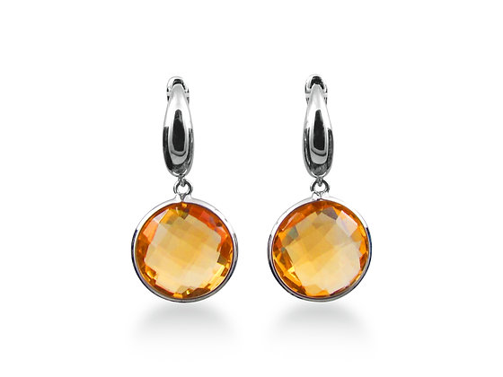 18kt White Gold Citrine Earrings