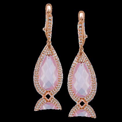 14kt Rose Gold Quartz & Diamond Earrings