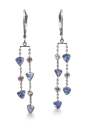 14kt White Gold Tanzanite & White Sapphire Earrings