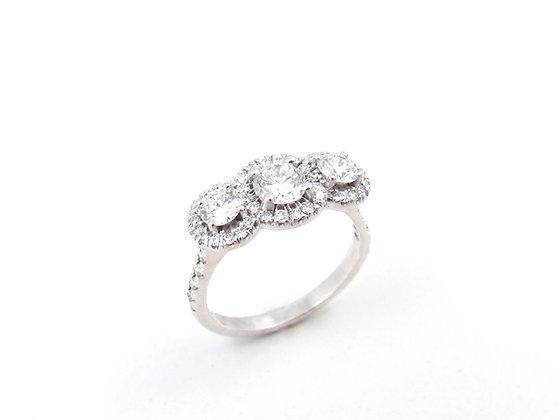 14kt White Gold Three Stone Diamond Engagement Ring