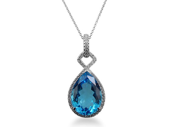 14kt White Gold Pear Blue Topaz & Diamond Pendant