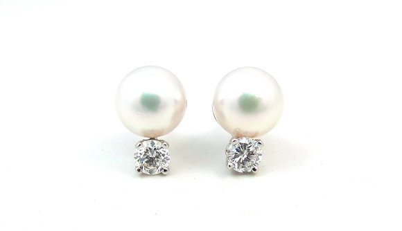 14kt White Gold Pearl & Diamond Earrings