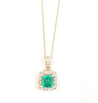 14kt Rose Gold Emerald & Diamond Pendant