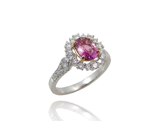 18kt white and yellow gold Pink Sapphire and Diamond ring