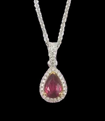 14kt White & Yellow Gold Ruby & Diamond Pendant