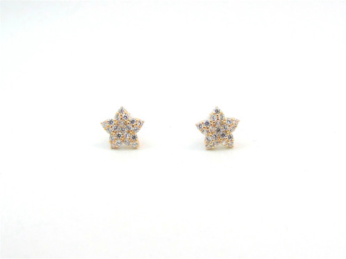10kt Yellow Gold Star Stud Earrings With Cubic Zirconia Stones And Erfly Backs