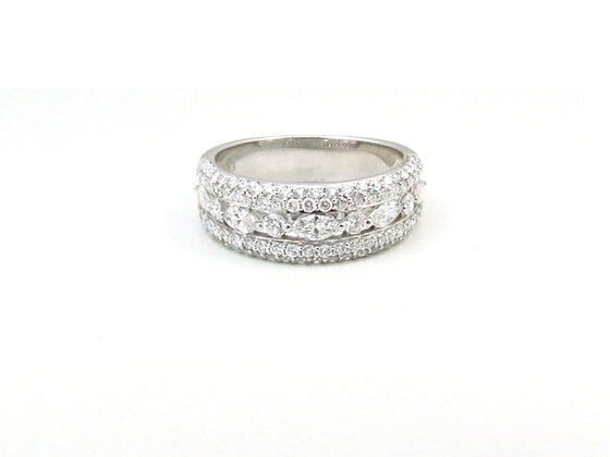 14kt White Gold Marquise and Round Diamond Ring
