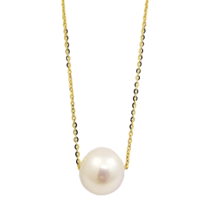 18K Yellow Gold Chain Pearl Soltaire Pendant
