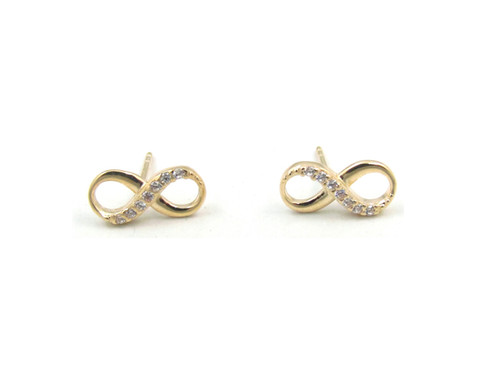 10kt Yellow Gold Infinity Stud Earrings With Cubic Zirconia Stones And Erfly Backs