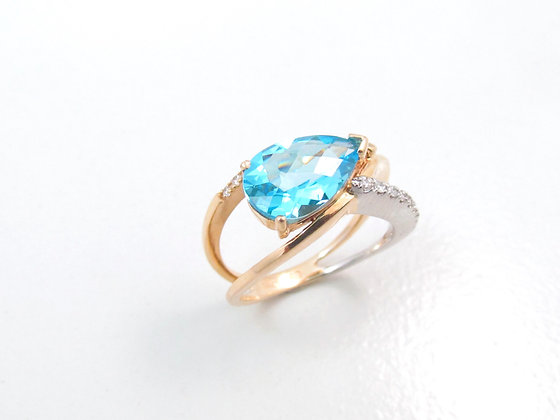 14kt Yellow & White Gold Blue Topaz and Diamond Ring