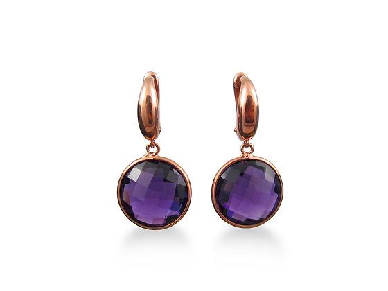 18kt Rose Gold Amethyst Earrings