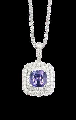 18kt White Gold Purple Sapphire & Diamond Pendant