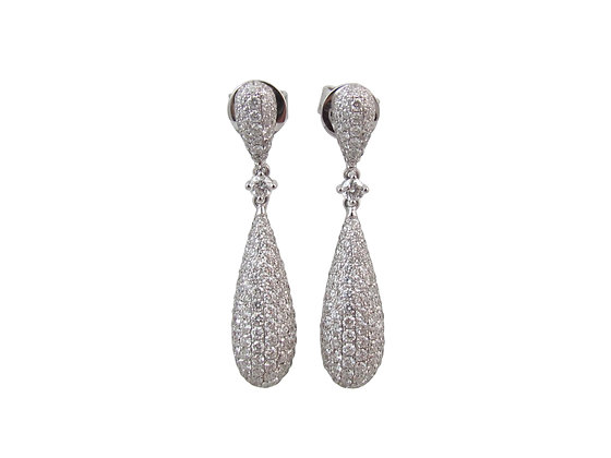 18kt White Gold Diamond Pave Earrings