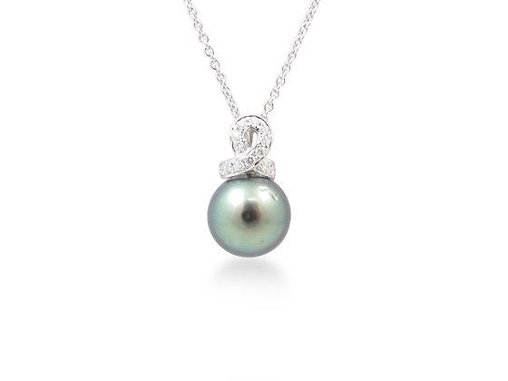 18kt White Gold South Sea Pearl and Diamond Pendant