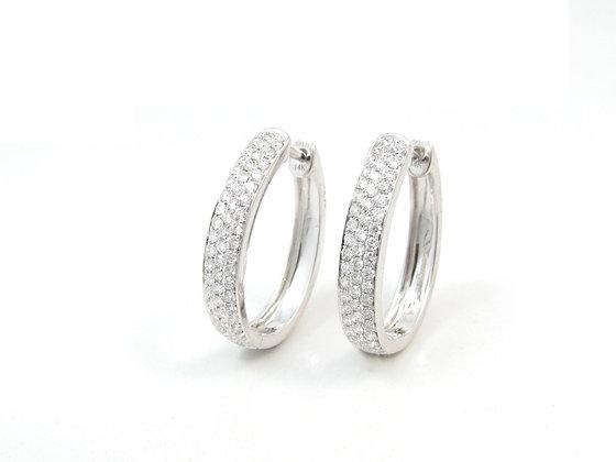 14kt White Gold Diamond Pave Hoop Earrings