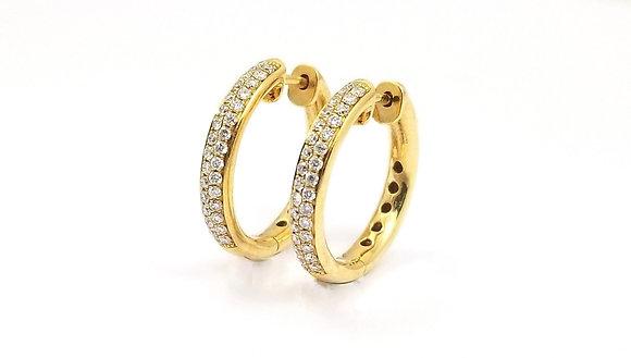 18kt Yellow Gold Diamond Hoop Earrings
