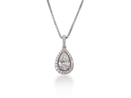 18kt white gold pear diamond pendant saati fine jewellery 18kt white gold pear diamond pendant aloadofball Choice Image