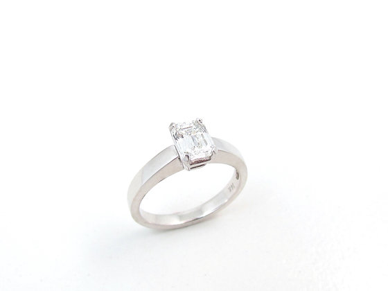 14kt White Gold Emerald Cut Diamond Engagement Ring