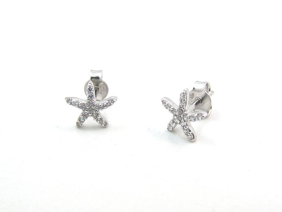 10kt White Gold Starfish Stud Earrings