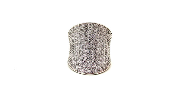 Silver Ring With Pave Cubic Zirconia