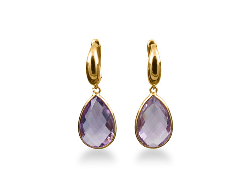 Pear Checkerboard Amethyst Set Into A 18 Karat Yellow Gold Earrings