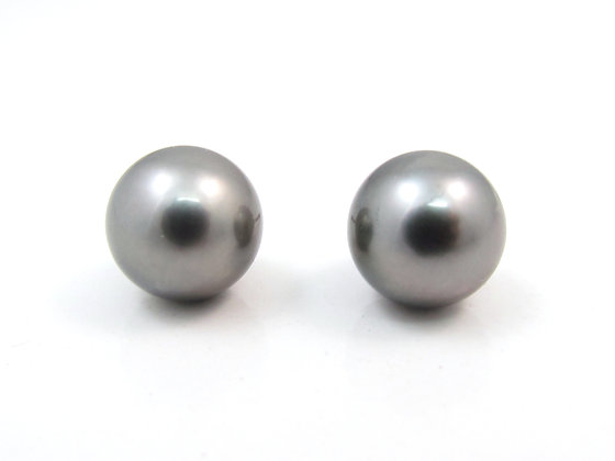 14kt White Gold Black South Sea Pearl Earrings