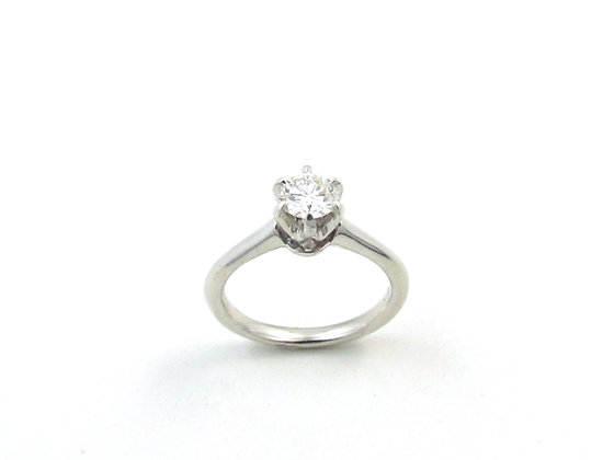 14kt White Gold Six Prong Diamond Solitare Ring