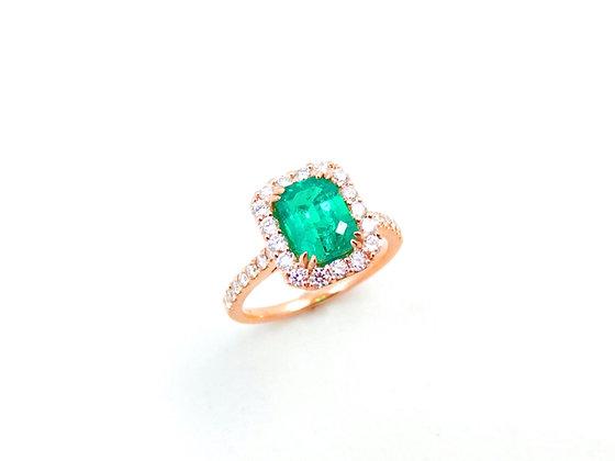 18kt Rose Gold Emerald & Diamond Ring