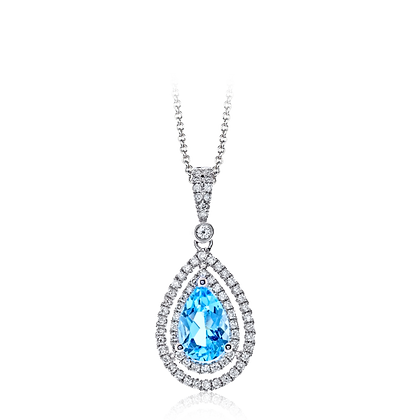 14kt White Gold Blue Topaz & Diamond Pendant