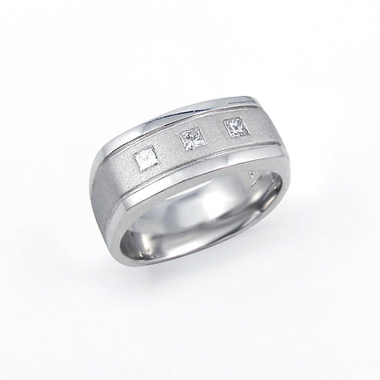 14kt White Gold Diamond Gent's Ring
