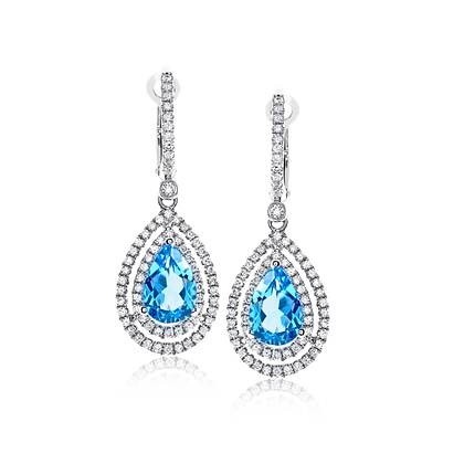 14kt White Gold Blue Topaz & Diamond Earrings