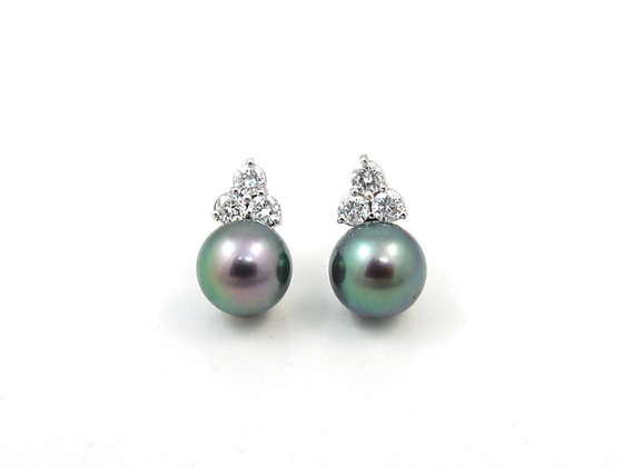 14kt White Gold Black Pearl & Diamond Earrings