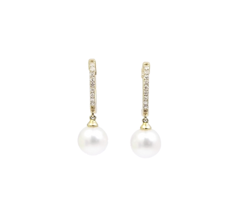 10kt Yellow Gold Pearl & Diamond Earring Drops