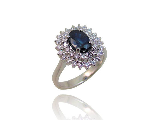 18kt White Gold Diamond and Blue Sapphire Ring